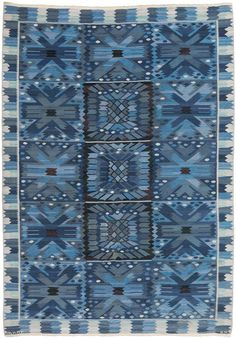 "A Swedish Tapestry Weave Rug ""Nejlikan Blue"" by Märta Måås-Fjetterström for Barbro Nilsson BB5388 by Doris Leslie Blau"