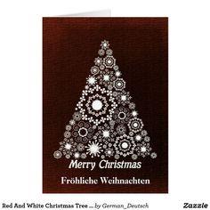 Red And White Christmas Tree Fröhliche Weihnachten