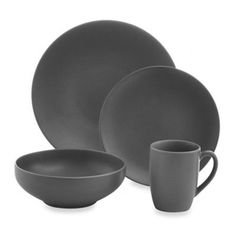 Gibson Paradiso Round Dinnerware in Grey - BedBathandBeyond.com  sc 1 st  Pinterest & Paradiso 16 Piece Set Black | ITEMS FOR THE HOME | Pinterest | Matte ...