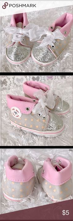Baby Baby Glitter Pink Crib High Tops Gently used with no flaws Shoes Baby & Walker