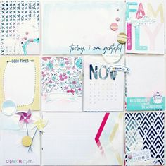 November - DITL, by Ashli Oliver using the Gathering collection from www.cocoadaisy.com #cocoadaisy #scrapbooking #kitclub #DITL #pocketpages #projectlife #setup #stitching #stamping #paint