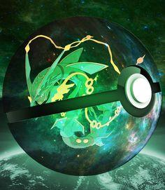Mega Rayquaza inside the Pokeball of Universe