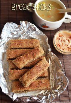 Bread Sticks Recipe - How to make whole wheat bread sticks | Sharmis Passions