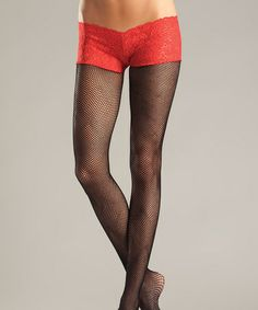 e808d59595f Black   Red Lace Fishnet Tights - Women