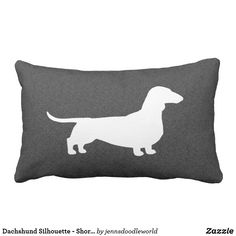 9f5492d367946 Dachshund Silhouette - Short Haired Wiener Dog Lumbar Pillow | Zazzle.com