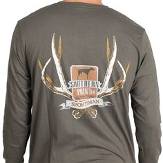 SPC Signature Long Sleeve Sportsman Antlers Tee in Forest Green by Southern Point Co.