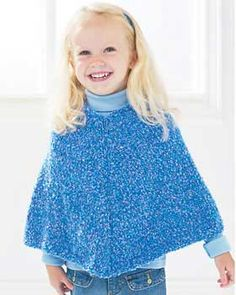 Easy-as-can-be baby poncho knits up quickly to keep your little one warm and toasty. Sizes 12 mos-8 yrs. Shown in Bernat Baby Boucle 36921 (Water Slide), knit on size 5 mm (U.S. 8) needles.