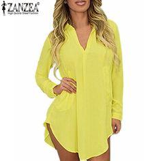US 4-24W 2017 ZANZEA Spring Summer Women Chiffon Long Sleeve Dress Boyfriend Shirt Dresses Oversized Sexy Blusas Vestidos