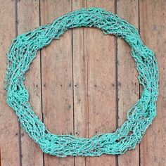 Aqua crochet infinity scarf necklace with silver beads