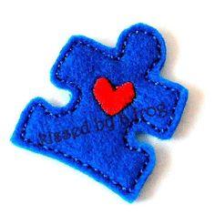 Autism Awareness Felt Non slip hair clip  by kissedbyafrog on Etsy, $5.00