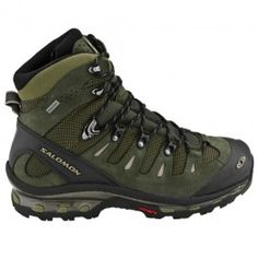 Salomon Quest GTX Hiking Boots- OD Green / Black Footwear - Tactical Distributors- Tactical Gear MSRP: Used by many Special Operations soldiers. Tactical Wear, Tactical Clothing, Hiking Gear, Hiking Shoes, Mens Hiking Boots, Outdoor Outfit, Outdoor Gear, Airsoft, Men's Shoes