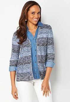 Ombre Stripe Cardigan, 9-0036435445, Ombre Stripe Cardigan Main View PGP