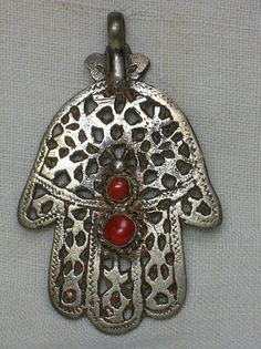 Vintage or Antique Hamsa Hand of Fatima, Silver & Coral, North Africa via Etsy.