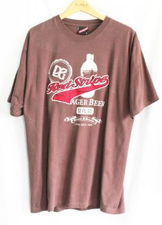 Red Stripe Beer T Shirt Size XL Brown Jamaica Lager Cotton Short Sleeved  #RedStripeClothing #GraphicTee