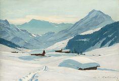 Charles-Henri Contencin (1898 - 1955) Winter above Adelboden, Bernese Oberland  oil on panel, signed