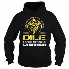 Awesome Tee DILE Blood Runs Through My Veins (Dragon) - Last Name, Surname T-Shirt T-Shirts