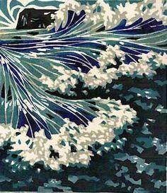 Seascape block print inspired by North Yorkshire coast.    Lynne Roebuck