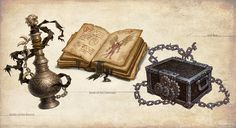 Some items of several I did for the Midgard Campaign Setting book, by Kobold Press. This is a fantastic book with a classic european medieval style [lin. Midgard Items I Dark Fantasy, Medieval Fantasy, Fantasy World, Fantasy Art, Armor Concept, Concept Art, Mystery, Game Props, Pathfinder Rpg