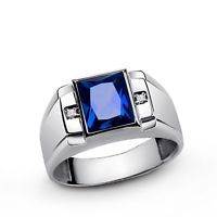 NATURAL SAPPHIRE with GENUINE DIAMONDS 925 Sterling Silver Men's Ring all sz