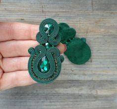 Soutache Pendant, Soutache Necklace, Diy Necklace, Beaded Earrings, Gold Bridal Earrings, Unique Earrings, Handmade Beaded Jewelry, Earrings Handmade, Bead Embroidery Jewelry
