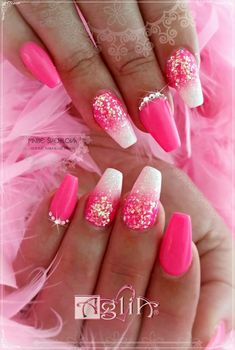 Pink Pink Pink !!!!  Acrylic nails & Gel design