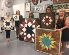Browse this link for our Wooden Barn Quilt project options. This is for informational purposes, not for booking a workshop. To book a workshop, please vis Barn Quilt Designs, Barn Quilt Patterns, Quilting Designs, Block Patterns, Nine Patch, Twinkle Twinkle Little Star, Vintage Star, Painted Barn Quilts, Painted Wood