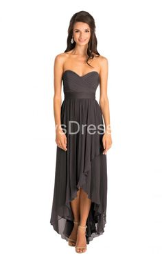 Elegant Sweetheart Neckline High-low Chiffon Dress With Ruched Detail