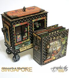 Olde Curiosity Shoppe Wagon Olde Curiosity Shoppe Tutorial by Alexandra Morein Product by Graphic 45 Photo 14 Scrapbook Frames, Vintage Scrapbook, Mini Scrapbook Albums, Graphic 45, Altered Cigar Boxes, Mini Album Tutorial, Diy Box, Mini Books, Box Art