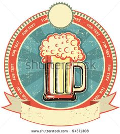 stock vector : Beer label on old paper texture.Vintage style