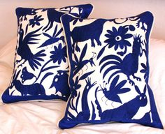 LARGE Piped Silk and Linen Folk Art Pillow Sham-Otomi Embroidery  2 piece set