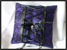 Purple Black Lace-Up Halloween Gothic Wedding Ring Bearer Pillow. $40.00, via Etsy.