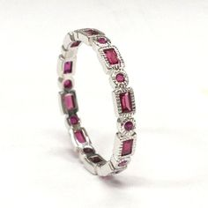Round/Baguette Ruby Wedding Band Eternity Anniversary Ring 18K White Gold Antique Art Deco - Lord of Gem Rings - 1