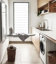 Here's some functional design ideas for kitchen organisation. Learn how to make the best use of your kitchen storage space. Ikea Laundry Room, Modern Laundry Rooms, Laundry Room Layouts, Farmhouse Laundry Room, Laundry Room Organization, Laundry Storage, Laundry Closet, Wall Storage, Shoe Storage