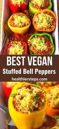 Amazing Vegan Stuffed Bell Peppers is so easy to prepare and flavorful. Colorful bell peppers stuffed with brown rice and lentils, topped with marina sauce and vegan cheese.