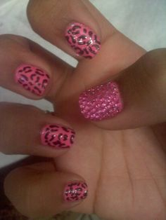 pink cheetah&&crystal nails.