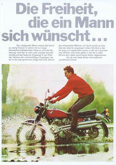 Honda Scrambler, Advertising, Ads, Brochures, Motorbikes, Retro Vintage, Motorcycles, Germany, Japan