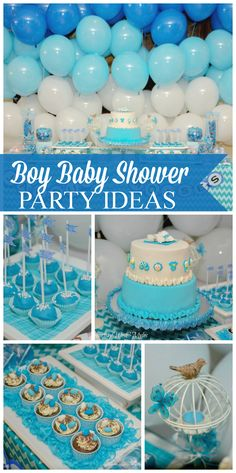 Check out this blue baby shower with an adorable cake! See more party ideas at CatchMyParty.com!