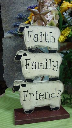 Primitive Wooden Stacking Sheep Faith Family Friends- i would probably change the words, but i like the idea