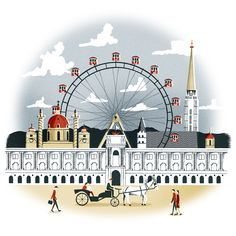 Vienna. A beautiful illustration by Sam Brewster for the January 2015 issue, What's Hot for 2015 feature. See more at http://www.sambrewster.com/