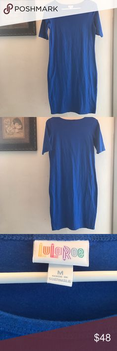 LuLaRoe Julia Medium Dress Royal blue solid, cotton spandex blend.  EUC LuLaRoe Dresses