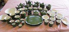 45 Piece Vintage Green Hall Restaurant China Set  #Hall