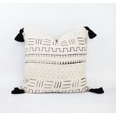 Authentic Natural White African Mudcloth Textile And Black Tassel... ($94) ❤ liked on Polyvore featuring home, home decor, throw pillows, beige throw pillows, off white throw pillows, cream colored throw pillows, ivory throw pillows and black home decor