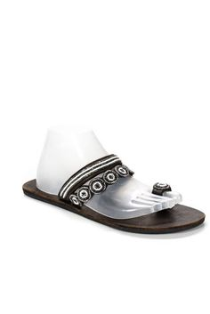 2f70371a654 Global Girls Brown Leather Beaded Toe Strap Sandals Size 40 10 NEW  fashion   clothing