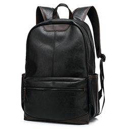 BAOSHA BP19 Younger PU Leather 15 inch Laptop Backpack School College Rucksack Daypack Black >>> Read more reviews of the product by visiting the link on the image.