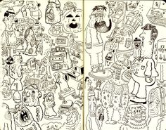 sketchbook page full of doodles from David DeGrand