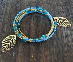 Blue and Gold Four Layer Beaded Wrap Around Beade Bracelet with Gold Leaf Charms - Natural History inspired jewellery by Androlucious @ Etsy www.androlucious.com