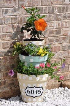House Number Flower Planter--This was made by my daughter Amber and it's sitting in front right now. HOW CUTE!!