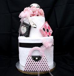 Wedding Towel Cake | Pink Black Wedding Towel Cake