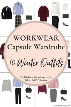Create a Workwear capsule wardrobe on a budget - 10 Winter 2018 outfit ideas!  Dressy outfits for the Professional, Working Woman! This post is a preview of the e-Book, The Workwear Capsule Wardrobe: Winter 2018 Collection.  I'm sharing a few pieces in the capsule wardrobe and you can mix and match those pieces to create several outfits! I'm excited to share with you…pieces like a sweater, top, skirt, pants, velvet blazer, faux fur vest, cardigan, coat, pumps, heels and boots.
