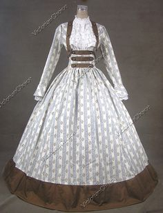 Civil War Victorian Cotton Blends Ball Gown Day Dress Reenactment 187 XL on… Civil War Fashion, 1800s Fashion, 19th Century Fashion, Victorian Fashion, Steampunk Fashion, Gothic Steampunk, Steampunk Clothing, Victorian Gothic, Gothic Lolita